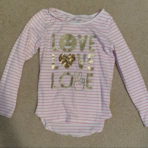 Pink and white striped longsleeve T-shirt
